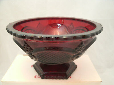 """Avon CAPE COD 1876 Ruby Red Collection 6"""" x 3+"""" Pedestal Candy Dish Footed NEW"""