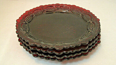 """Avon CAPE COD 1876 Ruby Red Collection Set of 4-7 1/2"""" Dessert Plates Glass  EUC"""