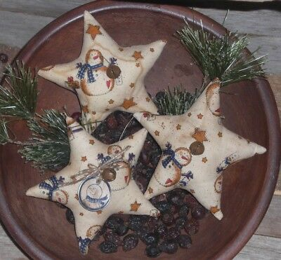 3 Primitive Whimsical Christmas Snowman Stars Ornies Ornaments Bowl Fillers