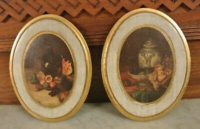 "Vintage Pair of Florentine Wooden Oval Pictures Made in Italy 7"" Tall"