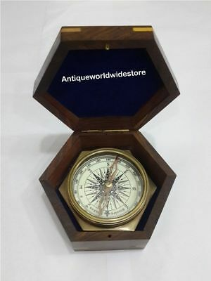 Maritime Antique Brass Vintage Nautical Compass With Wooden Box