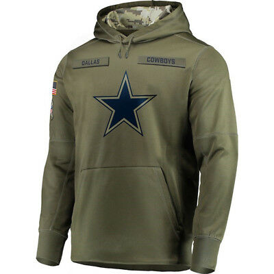 Dallas Cowboys 2018 Salute To Service Sideline Therma Fleece Pullover Hoodie