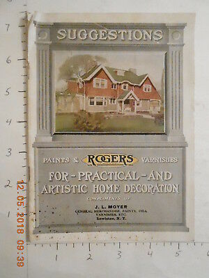 1922 ROGERS paints & varnishes catalog for home with paint chips Lewiston NY