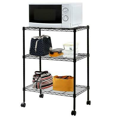 3 Tier Wire Shelving Rack Cart Kitchen Unit w/Casters Shelf Wheels Rolling US