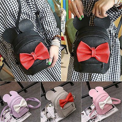 Womens Mini Backpack PU Leather Shoulder School Bag Minnie Mouse Travel Rucksack