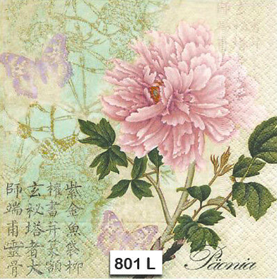 (801) TWO Individual Paper Luncheon Decoupage Napkins - PINK PEONY, ASIAN FLOWER