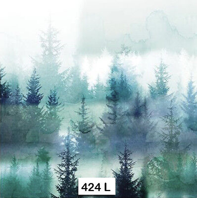 (424) TWO Individual Paper Luncheon Decoupage Napkin - MISTY FOG FOREST MOUNTAIN