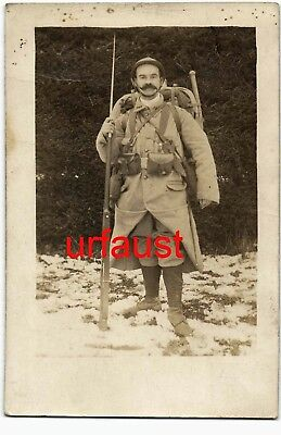 French WWI Soldier Leon Bertrand Adrian Helmet Rifle Bayo Photo