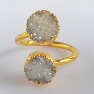 Size 6 Natural Agate Druzy Geode Adjustable Ring Gold Plated H126962