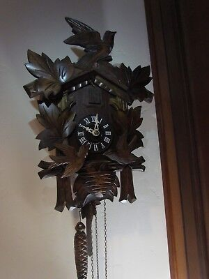 WEST GERMAN Hubert Herr CUCKOO CLOCK  MINT COND. IT RUNS SEE YOUTUBE VIDEO
