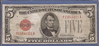 1928 C $5 United States Note (USN),Large Red Seal,circulated Very Fine,Nice!