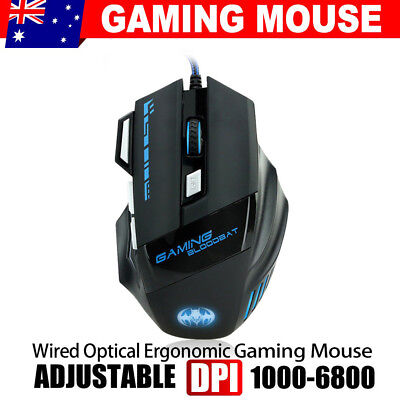 7 Button 6800DPI LED Wired USB Optical Backlight Gaming Mouse PC Laptop Mac