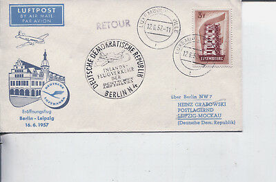 (E 4) Luxembourg Europa FDC cover - 1956  3f - First flight to Leipzig