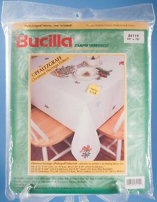 "Bucilla Stamped Embroidery Tablecloth Pfaltzgraff Christmas 52"" x 70""  NIP"