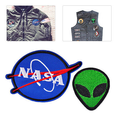 NASA Alien Head UFO Embroidered Patch Applique Badge Sew Iron Bag Clothes Fabric
