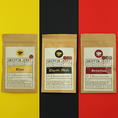 Griffin Jerky 3 x 30g packs. Classic, Chipotle Adobo & Srirachuan.