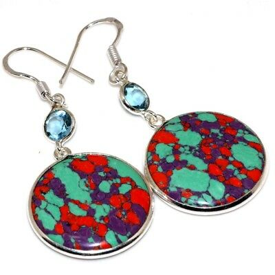 X6573 Mosaic Jasper Blue Topaz 925 Sterling Silver Plated Earrings 2.2""