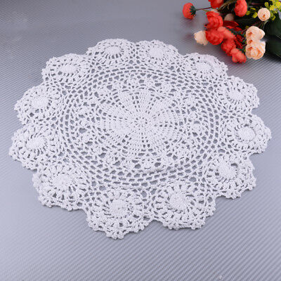 Vintage Floral Hand Crochet Pure Cotton Lace Doily Round Flower Table Placemat