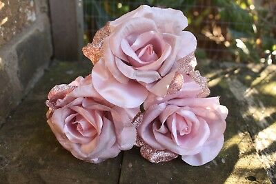 3 x  VINTAGE PINK & GLITTER PINK SILK ROSES  10cm LONG WIRED STEMS