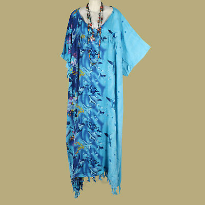 New Aqua Blue Stingray Fish Kaftan Long Hippie Mega Rayon Dress Plus Size 32 34