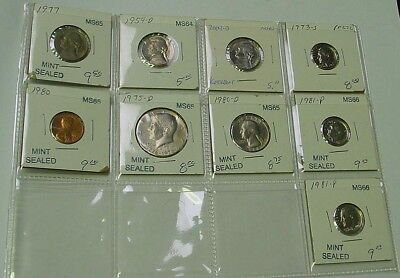 USA. 1954 to 1981 coins in high grades in 2 x 2 coin holders.