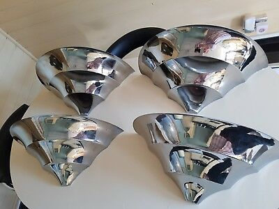 VINTAGE 4 LARGE ART DECO 1930s CHROME UPLIGHTER WALL LIGHTS EX- FRENCH CINEMA