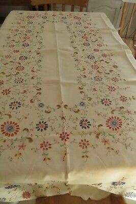 Lrg Vintage Unused Madeira Color Emb Dinner Cloth 8 Napkins Floral Design 76x60