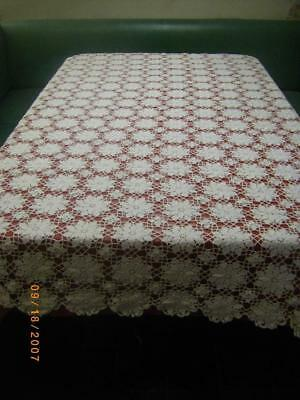 Vintage Hand Crocheted Lace Tablecloth Ivory White 50X72 Rectangular, EXC EUC