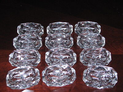 Set of 12 Vintage Faceted Oval Glass Open Salt Dip Cellar  Dishes~