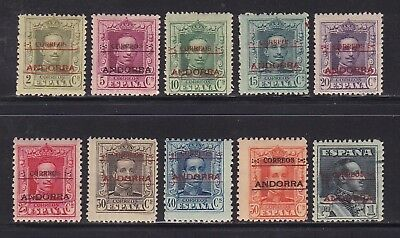 Andorra Spanish Administration Mint Stamps Sc#1-10 MH CV$88