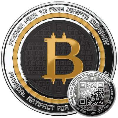 Bitcoin 5 Ounce Silver Bitcoin Color .999 Qr Code Value Conversion Commemorative