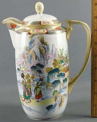 Antique Japanese Nippon Chocolate-Tea-Coffee Pot Hand Painted Figural Geisha