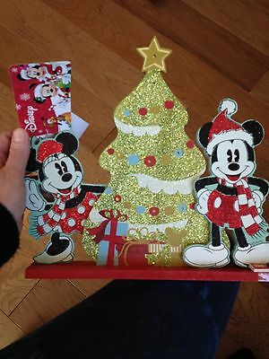 New Disney Mickey And Minnie Mouse Lit Christmas Table Top Tree & Free Shipping