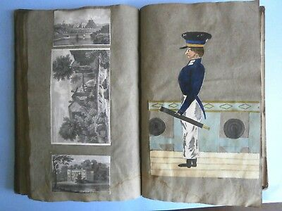 Antique scrapbook, 1817-26, of Rawson Boddam Crozier, Isle of Wight interest