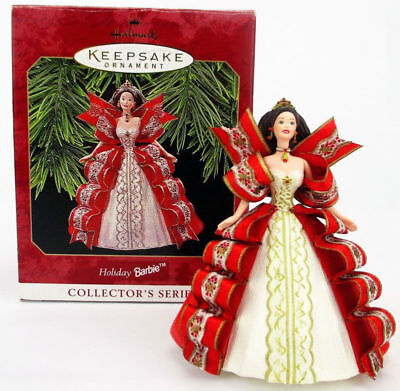 1997 Hallmark HOLIDAY BARBIE Christmas Ornament #5 IN SERIES Red Gown