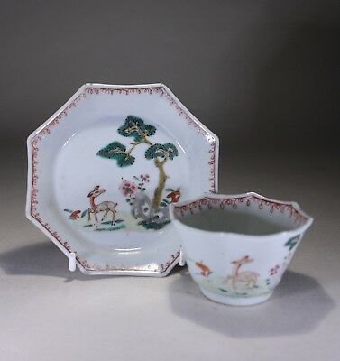 Antique Chinese Porcelain Tea Bowl & Saucer Deer Rocks & Trees