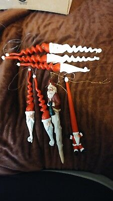 Lot Of 7 Santa Icicle Ornaments