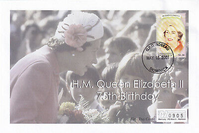(21884) Dominica Mercury Cover Queen 75th Birthday 15 May 2001