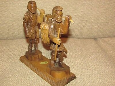 **LOOK** Superb ANTIQUE Hand Carved Wooden Asian Huntsman Figurine FREE P+P