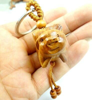 Hand-carved pig Wooden pendant Crafts, Key Chain, Key Ring C213