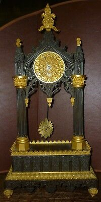 Good Charles X Bronze Portico Timepiece Clock In The Gothic Style