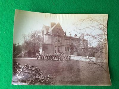 Antique Victorian Paper Photographic Print of a Group of Soldiers with Officer