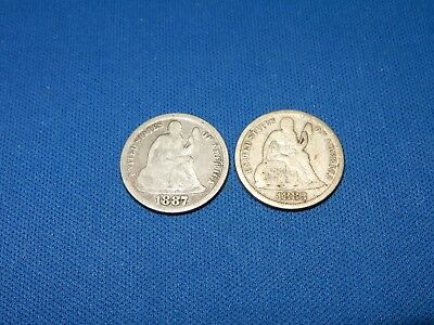 1883 & 1887 Seated Liberty Silver Dimes