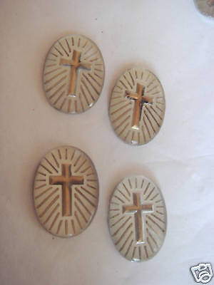 GLASS INTAGLIO CROSS STONES  W GERMAN 18 x 13mm  VINTAGE 1960's  4 pcs INTAGLIOS