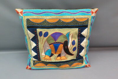 Kaross South African  Embroidered Throw Pillow - Elephant