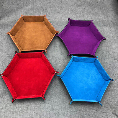 Party Game Hexagon Dice Rolling Tray PU Leather Collapsible Dice Storage Box LD