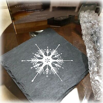 NIB Crofton 4 Piece Natural Black Slate Stone Coaster Set in Holder SNOWFLAKES