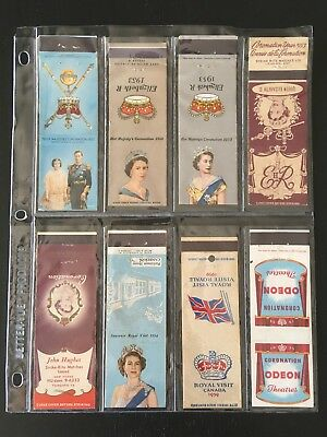 Vintage Lot (9) Used Matchbooks Queen Elizabeth Coronation/lady Diana Marriage