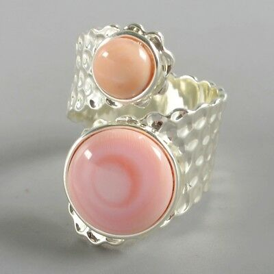 Size 8.5 Natural Pink Opal Bezel Ring Silver Plated B074414