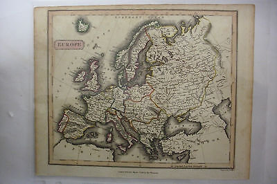 1816 Hand Tinted Map EUROPE Germany*France*Russia*Italy*Spain*Portugal*Britain